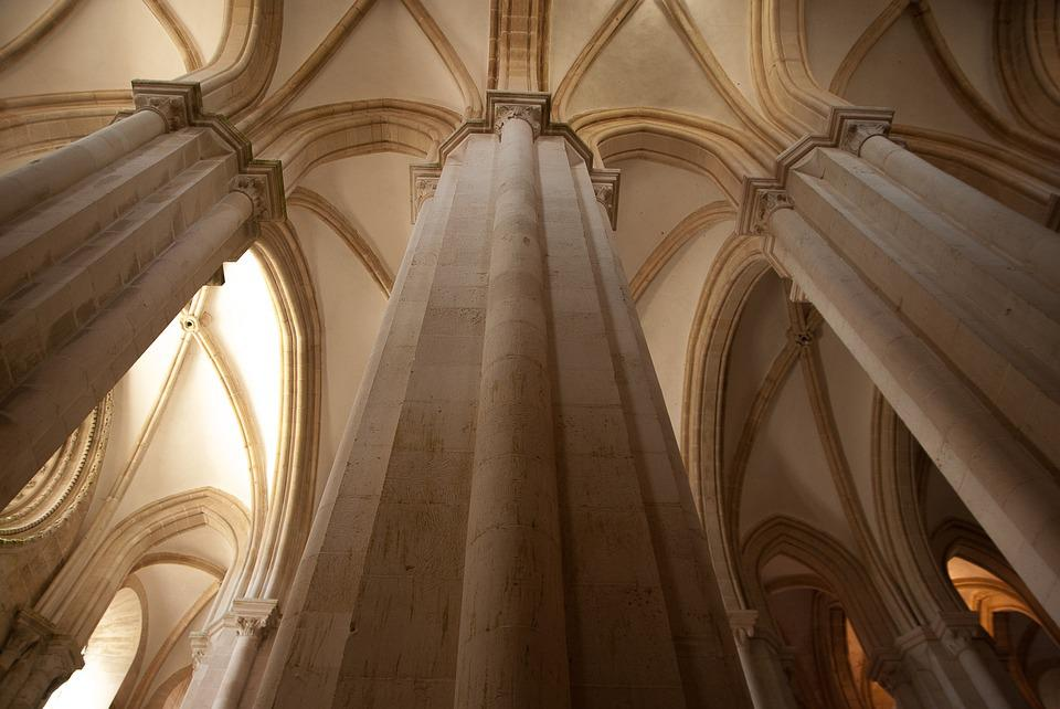 Portugal, Cathedral, Pillars, Gothic Art