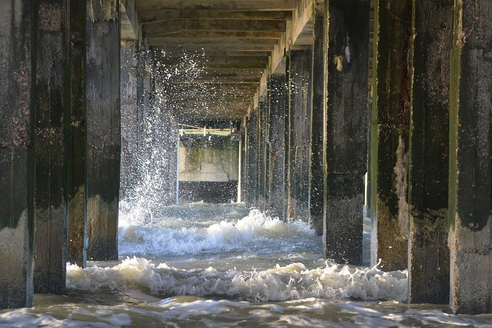 Sea, Waves, Nature, Pillars