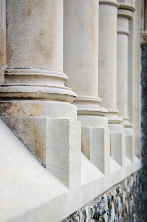 Pillars, White, Building, Columns, Stone, Architecture