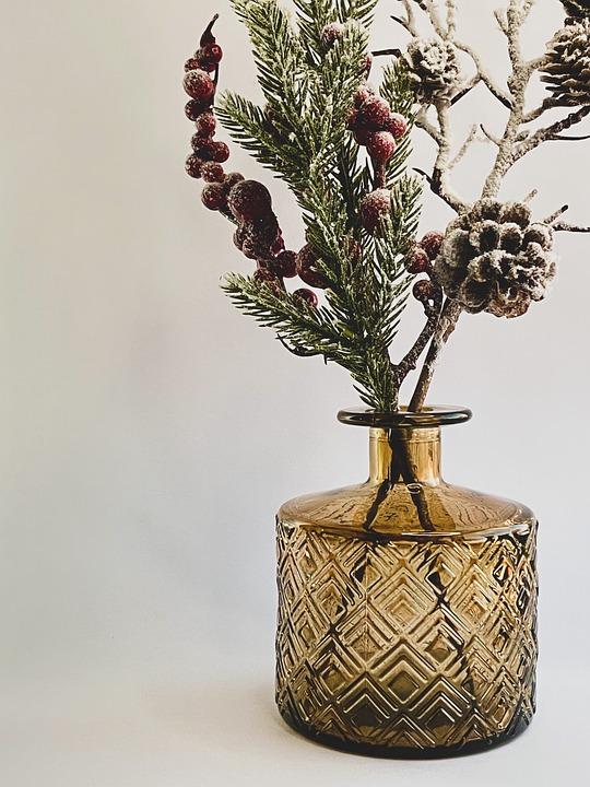 Vase, Spruce, Berries, Branch, Pine Cone, Snow