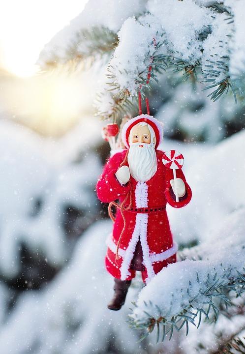 Santa Ornament, Snowy Tree, Snow, Pine, Spruce Tree
