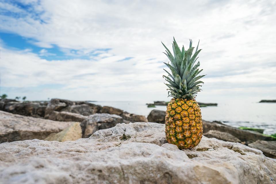 Pineapple, Beach, Tropical, Summer, Sea, Ocean, Fruit