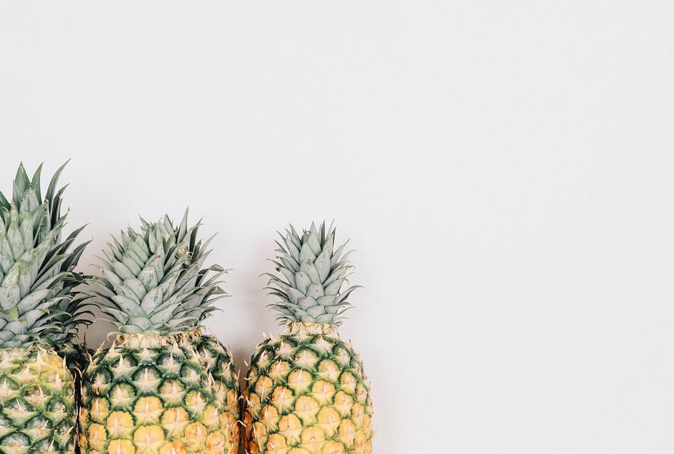 Pineapples, Fruits, Tropical Fruits, Isolated
