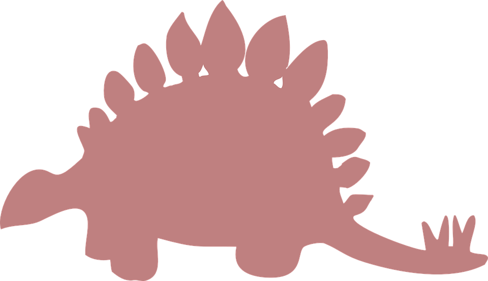 Silhouette, Pink, Stegosaurus, Ancient, Spikes