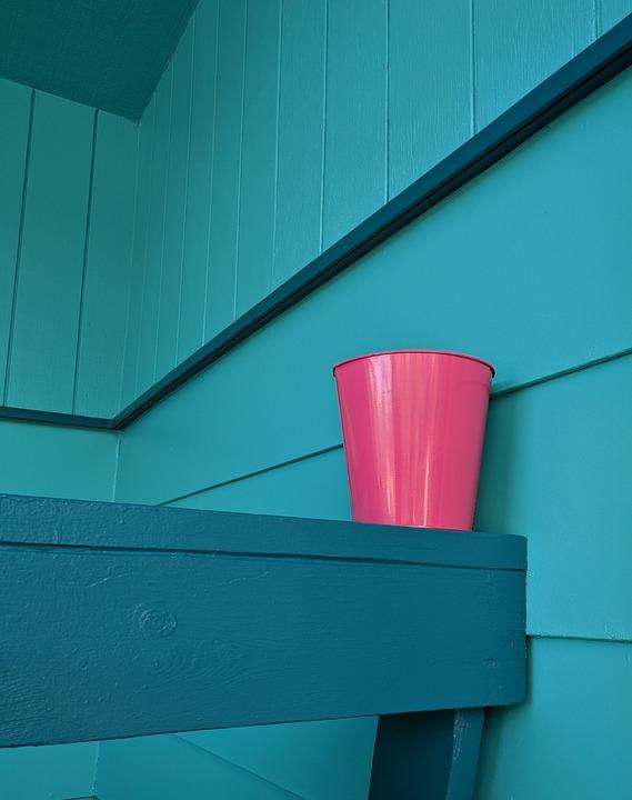 Teal, Blue, Pink, Angles, Walls, Flower Pot, Railing