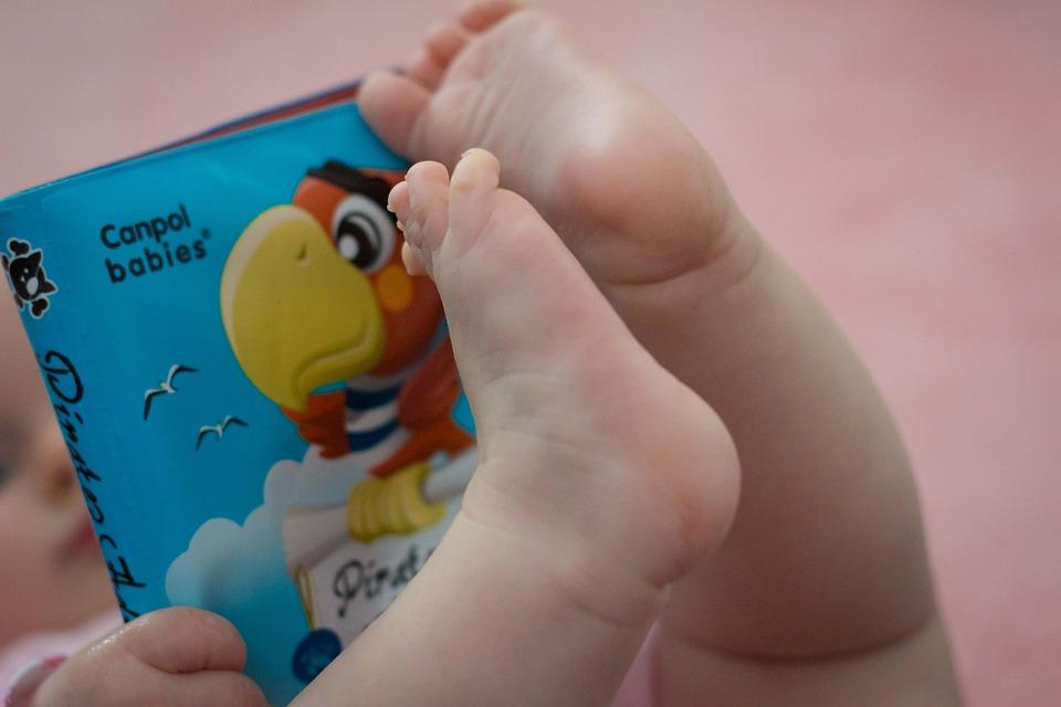Baby, Book, Legs, Child, Pink