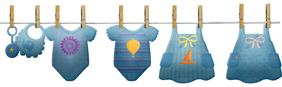 Baby Clothes, Clothesline, Boy, Girl, Pink, Blue