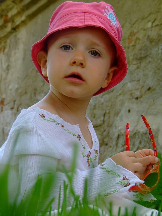 Child, Pink Cap, View, Face