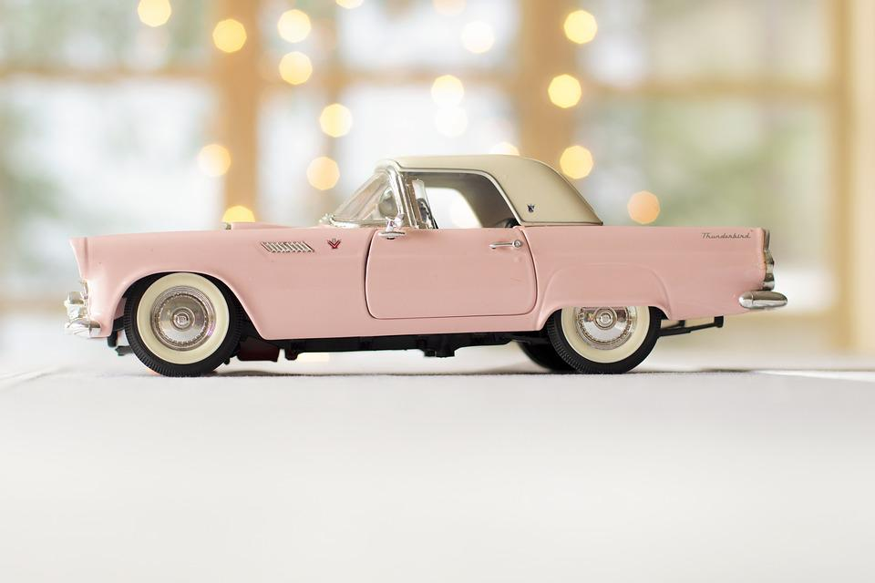 Car, Pink Car, Thunderbird, Drive, Driving, Vintage