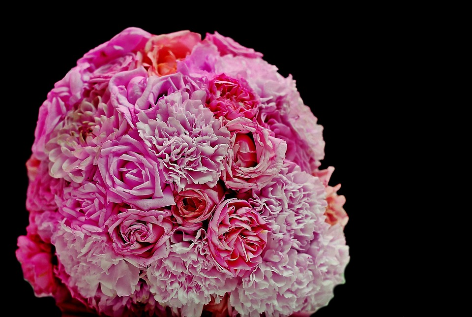 Bouquet, Roses, Cloves, Wedding, Flowers, Pink