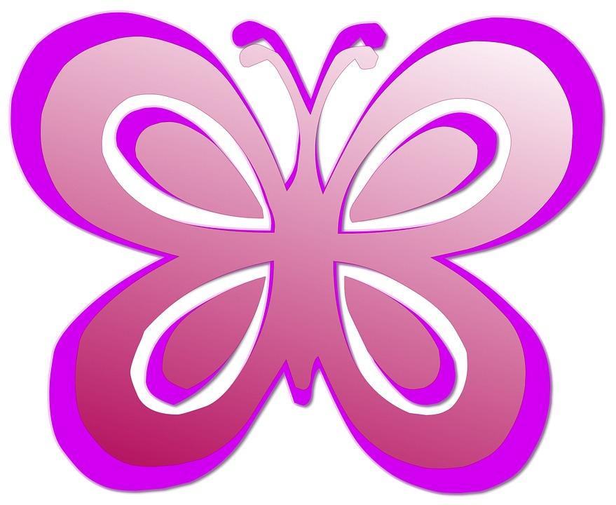 Butterfly, Pink, Cute, Silhouette, Pink Butterfly