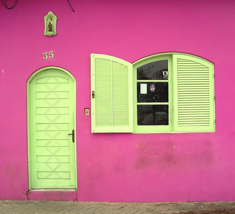 Facade, Pink, House, Exterior, Home, Urban, Front