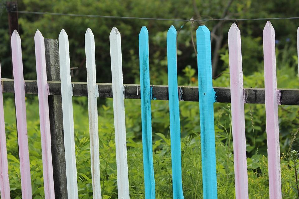 Fence, Village, Pink, Blue, Summer