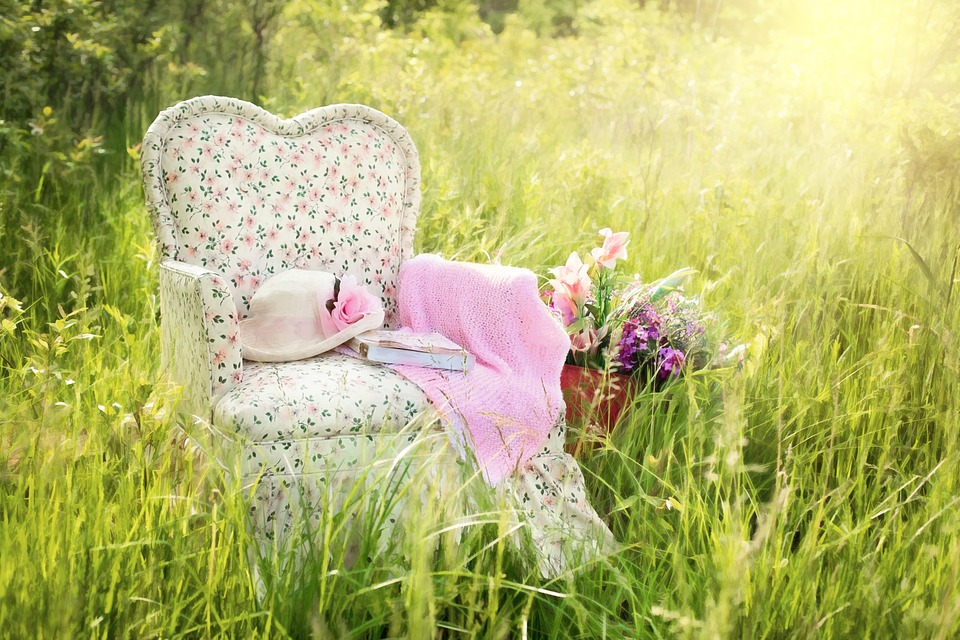 Chair In Field, Floral Chair, Pink, Summer, Nature