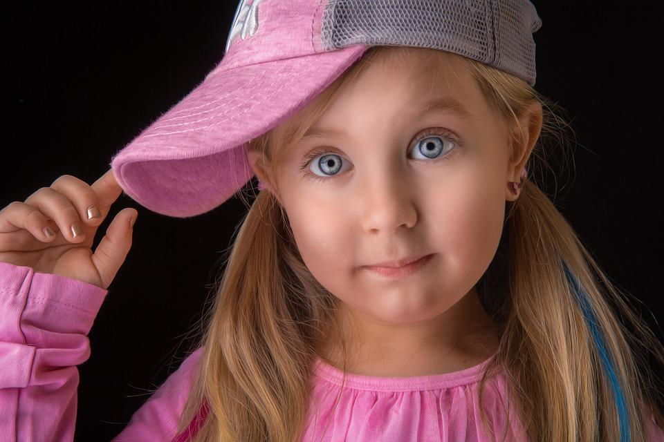 Girl, Hat, Cap, Pink, Blond, Eyes, Blue, Young, Fashion