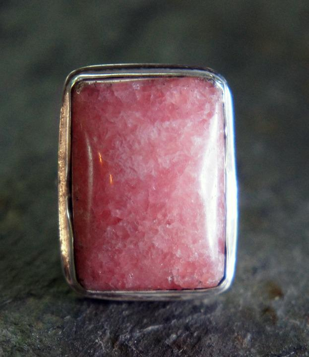 Rhodochrosite, Pink, Silver, Metal, Jewelry, Jewel