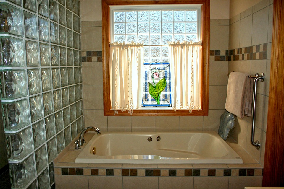 Bathtub, Stained Glass, Window, Pink Lady Slipper, Bath