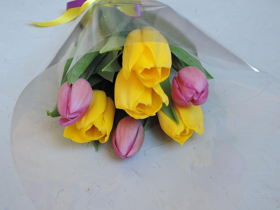 Flowers, Bouquet, Pink, Yellow, Tulips, Spring, March 8