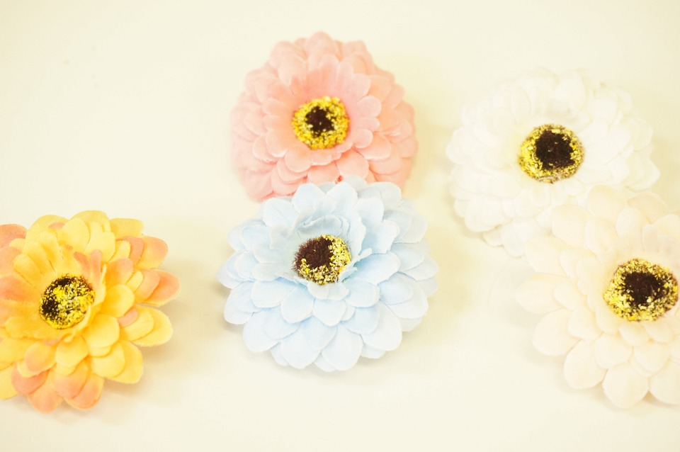 Flowers, Artificial Flowers, Orange, Pink, Light Blue