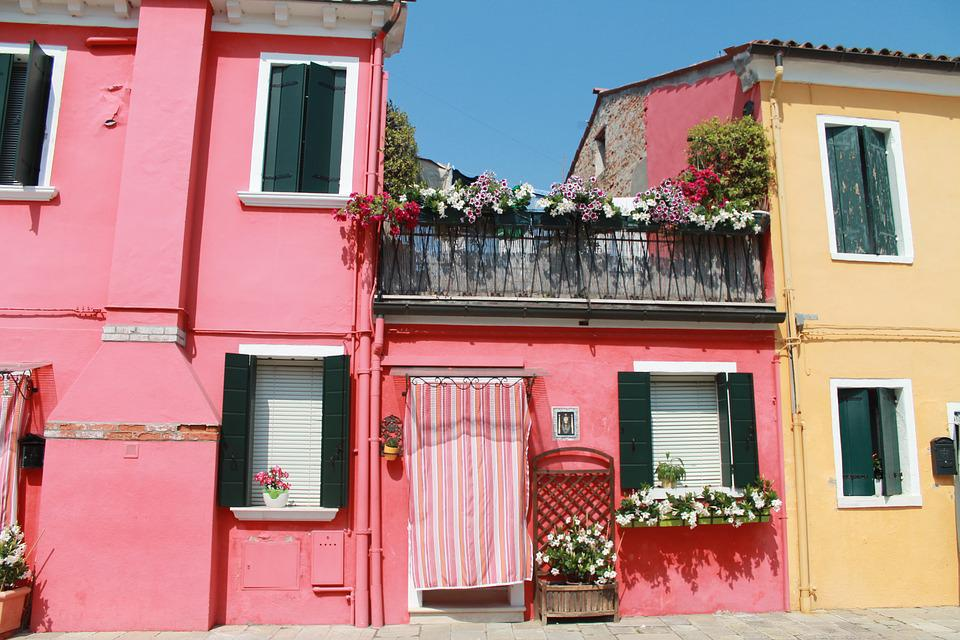 Colorful, Homes, Pink, Orange, Mediterranean, Burano