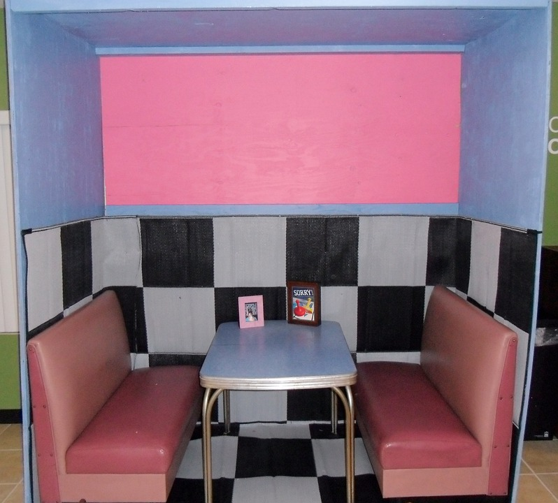 Diner, Booth, Pink, Teal, Checkered, Malt, Milk, Shake