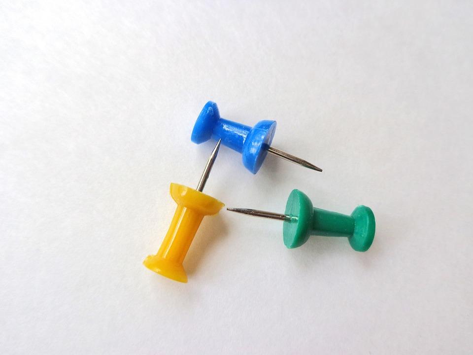 Pins, Office, Supplies, Push, Pushpin, Pinned, Green