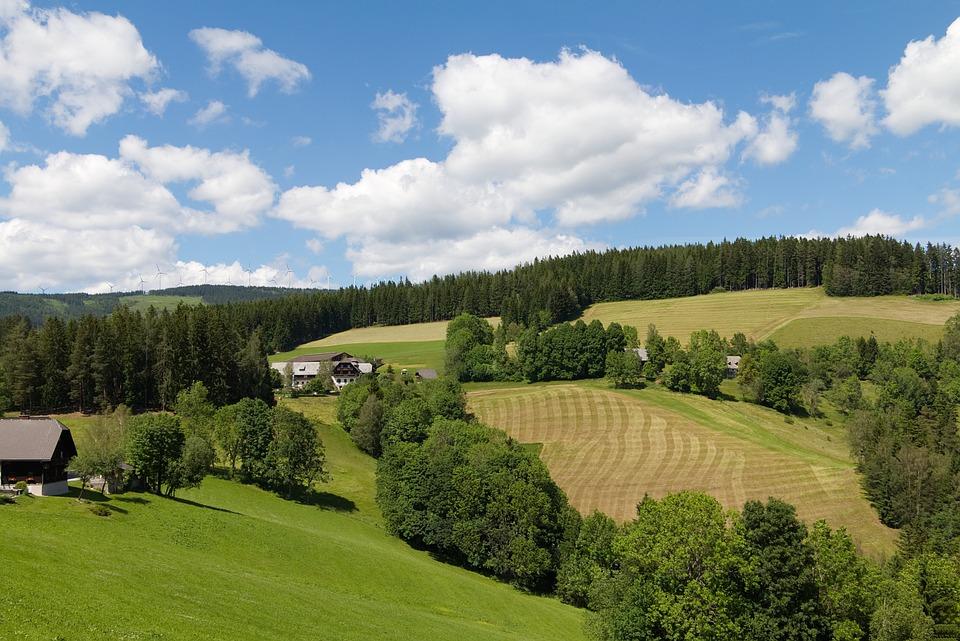 Styria, Alpine, Pinwheel, Austria, Meadow, Clouds