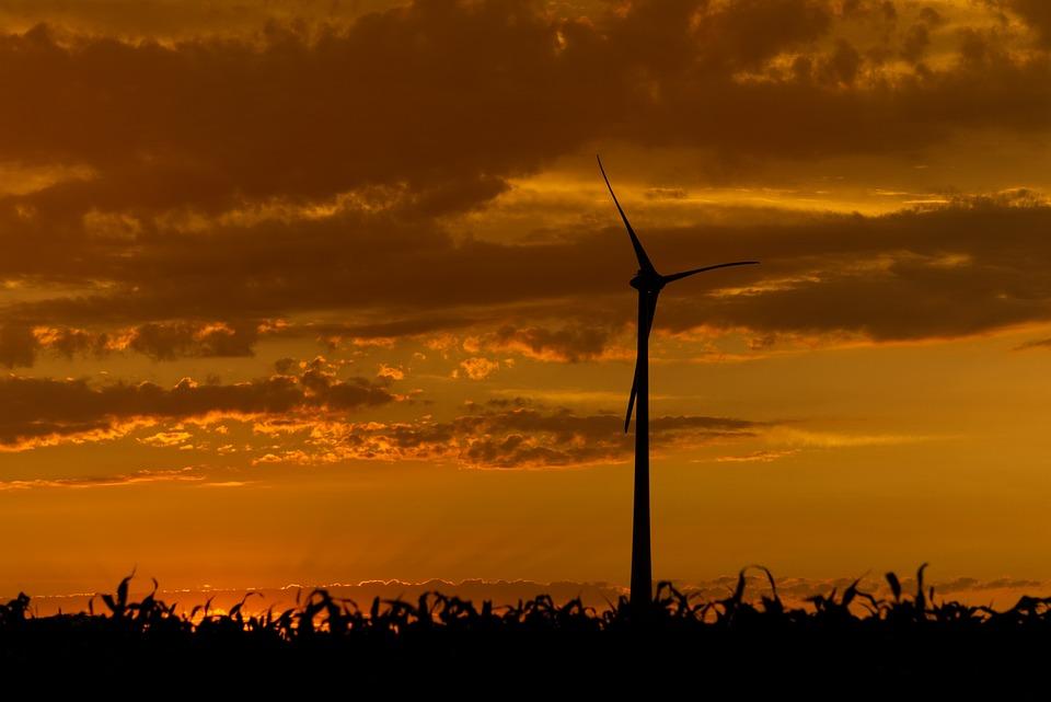 Sunset, Pinwheel, Wind Power, Energy