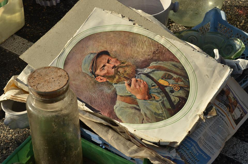 Antique, Art, Painting, Paper, Soldier, Pipe, Market