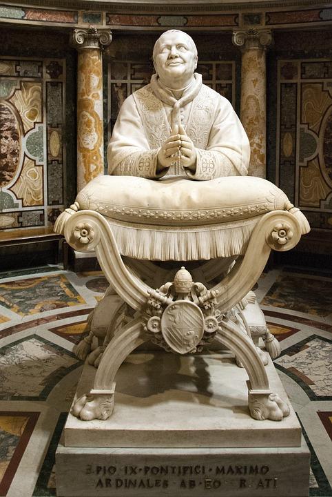 Pope, Statue, Church, Catholic, Prayer, Pius, From