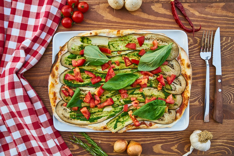 Pizza, Dough, Pepper, Table, Vegetable, Product Photo