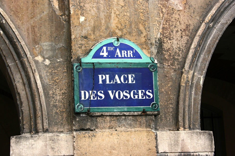 Street Sign, Place De Vosges, Paris