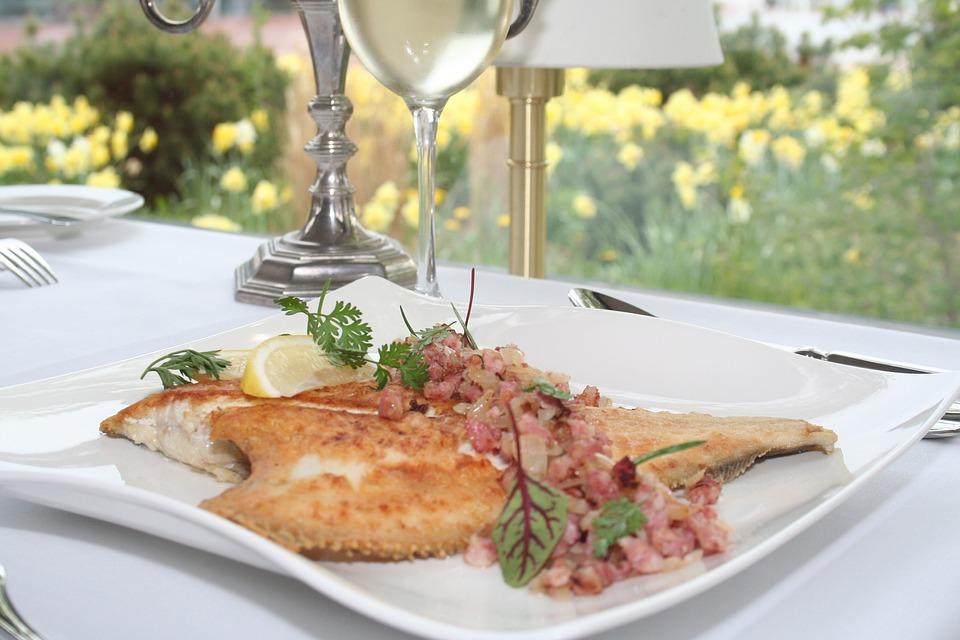 Plaice, Plate, Restaurant, Eat, Gastronomy, Cover