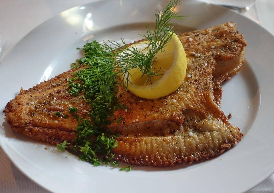 Plaice, Fish, Flatfish, Fried, Lemon, Roasted