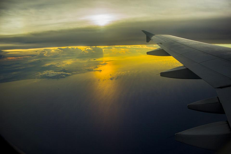 South China Sea, Sky, Aviation, Sun, Plan, Sunset