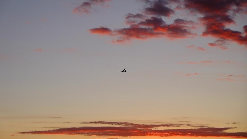 Sky, Sunset, Romantic, Clouds, Plane, Tourism, Trip