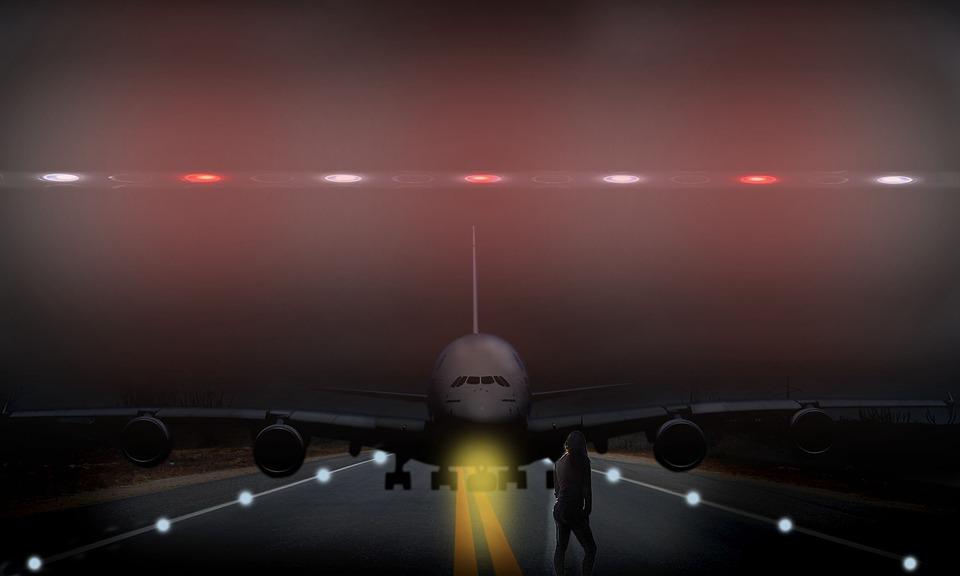 Plane, Landing, Dark