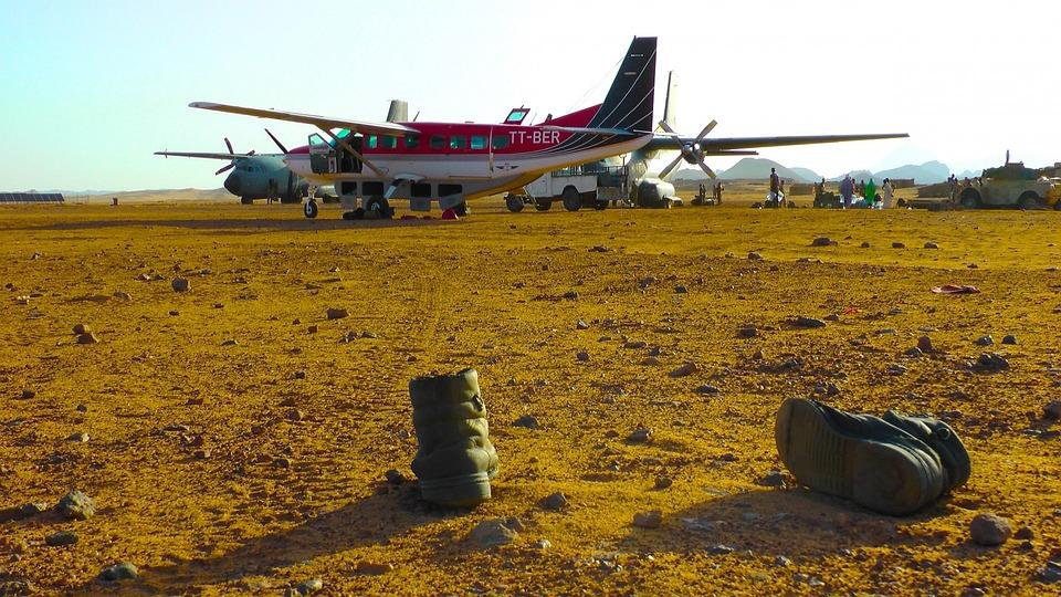 Caravan, Military Boots, Chad, Tibesti Mountains, Plane