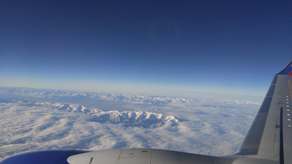 Flying, Mountains, Aerial, Snow, Plane, Sky