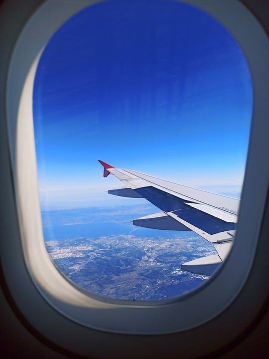 Plane, Aircraft, Window, Wing, Space, Sky, Clouds