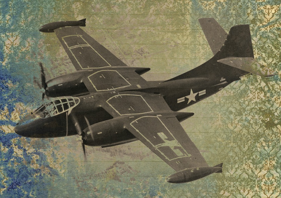 War, Plane, Aircraft, Fighter, Vintage, Art Collage