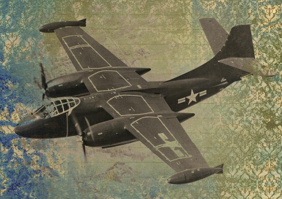 War, Plane, Aircraft, Fighter, Vintage, Art Collage