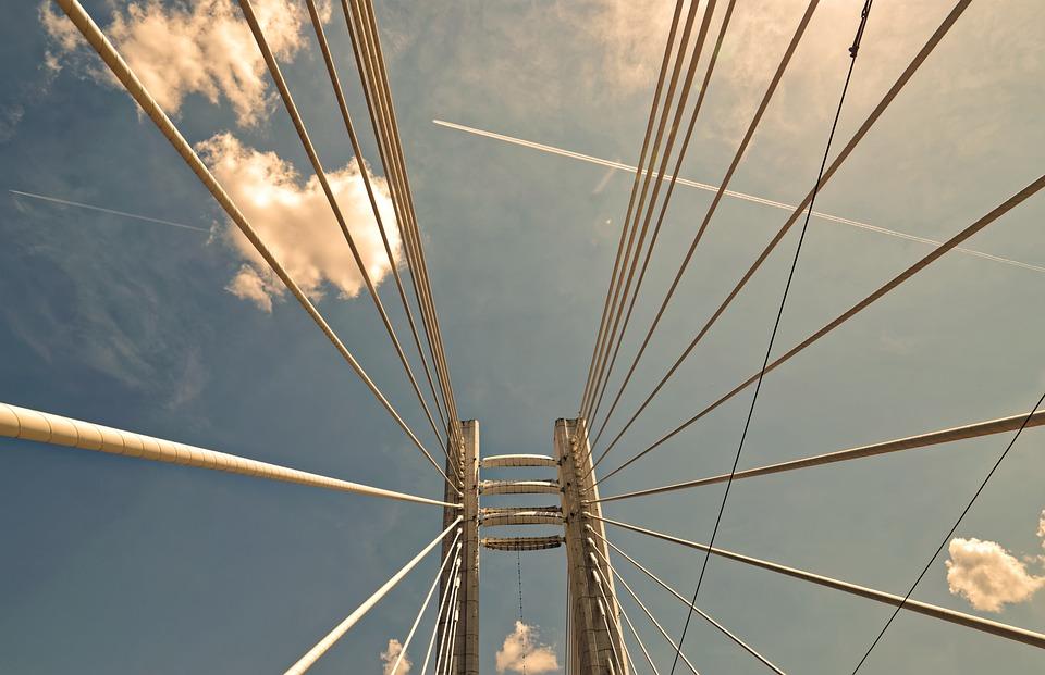 Bridge, Sky, Cloud, Planes, Anchors, Construction
