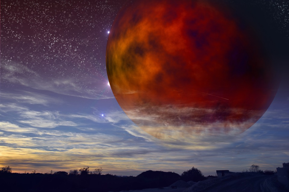 Planet, Sky, Fantasy, Evening, Sun, Wallpaper