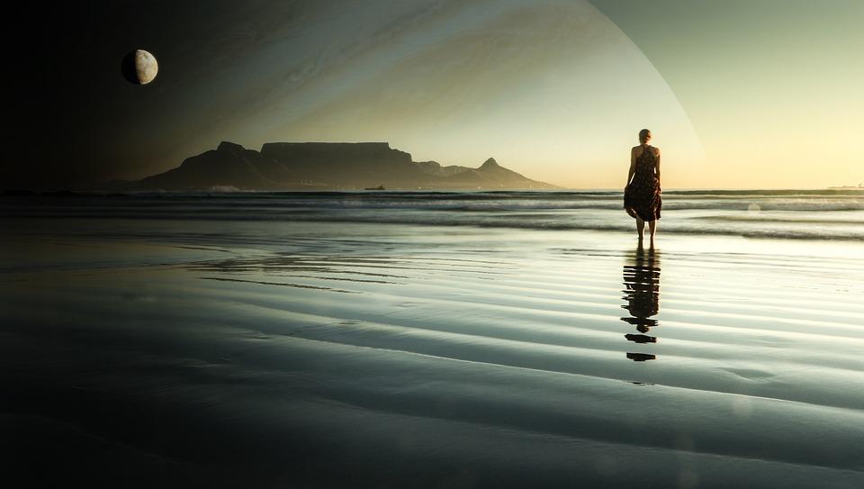 Planet, Moon, Beach, Sunset, Woman, Waves, Wading