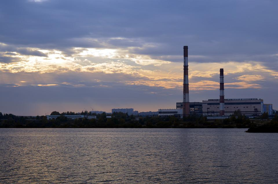 Plant, Industry, Sunset, Lake, Electric Power