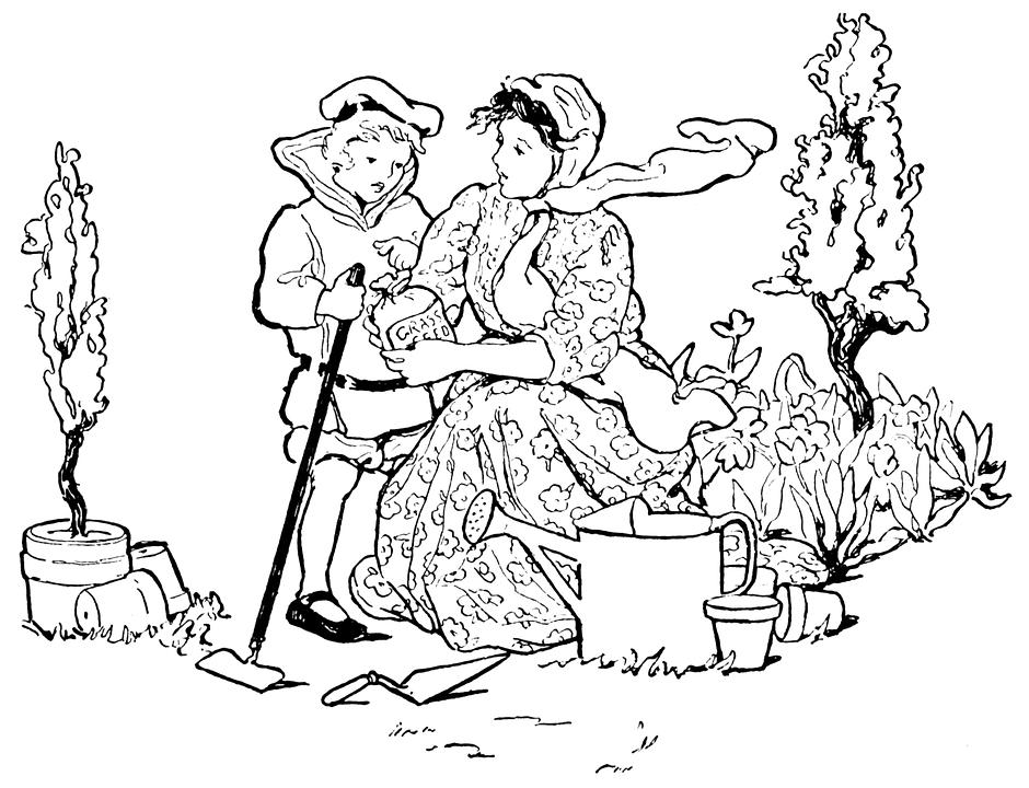 Woman, Boy, Mother, Son, Child, Garden, Planting, Seeds