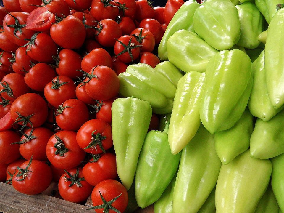Tomatoes, Peppers, Vegetables, Food, Market, Plants