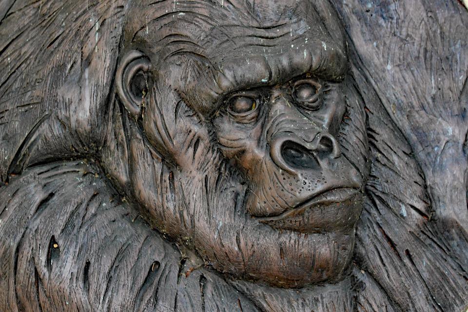 Gorilla, Monkey, Carving, Wooden, Plaque, Primate