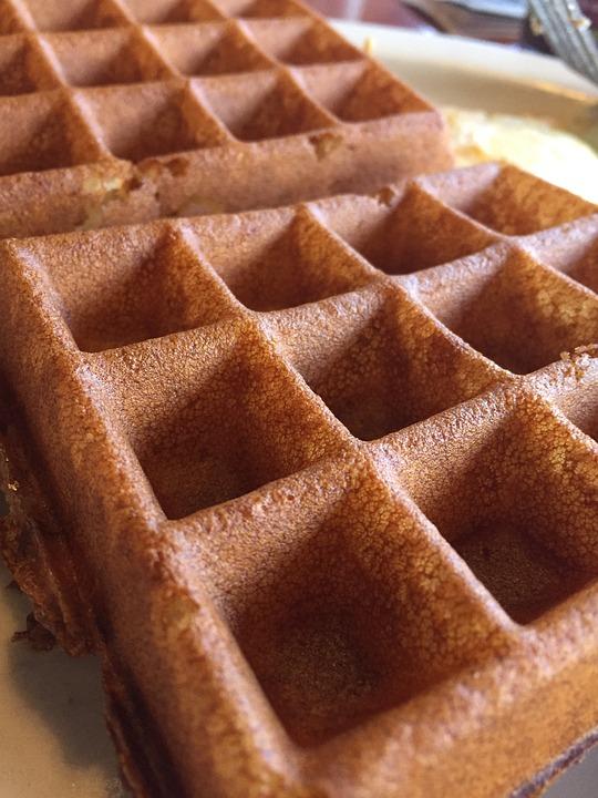 Waffle, Breakfast, Food, Blueberry, Plate, Wafer, Fruit